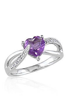 Belk & Co. Amethyst and Diamond Heart Ring in Sterling Silver