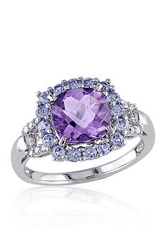 Belk & Co. Amethyst, Tanzanite, and Diamond Ring in Sterling Silver