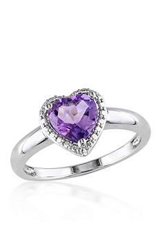Belk & Co. Amethyst Heart Ring in Sterling Silver