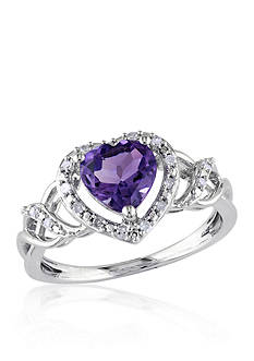 Belk & Co. Amethyst and Diamond Heart Ring in Sterling Silver