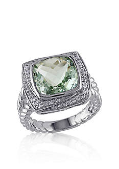 Belk & Co. Green Amethyst and Diamond Ring in Sterling Silver