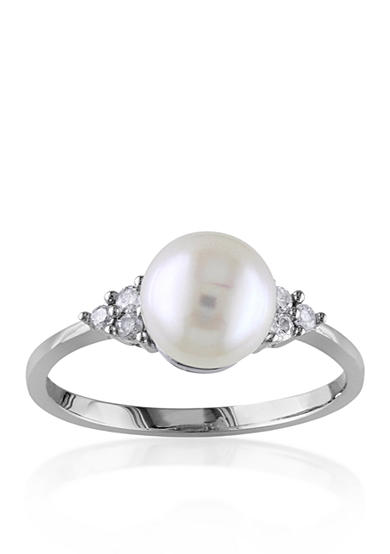 Belk & Co. 10k White Gold Cultured Freshwater Pearl and Diamond Ring