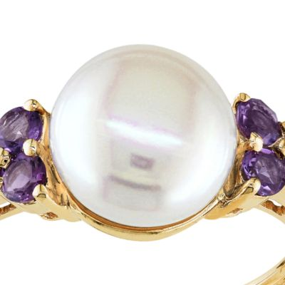June Birthstone Pearl Jewelry: Mulit Belk & Co. 10k Yellow Gold Cultured Freshwater Pearl and Amethyst Ring