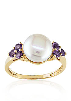 Belk & Co. 10k Yellow Gold Cultured Freshwater Pearl and Amethyst Ring