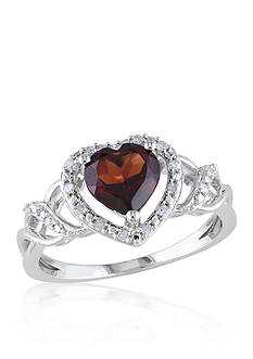 Belk & Co. Garnet and Diamond Heart Ring in Sterling Silver