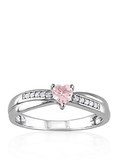Belk & Co. Sterling Silver Morganite and Diamond Heart Ring