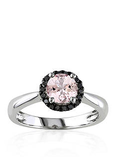 Belk & Co. Sterling Silver Morganite and Black Diamond Ring