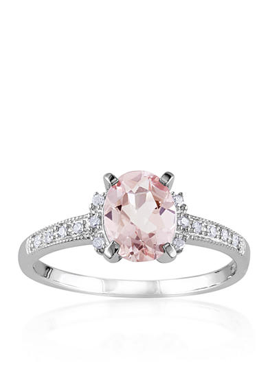 Belk & Co. Sterling Silver Morganite and Diamond Ring