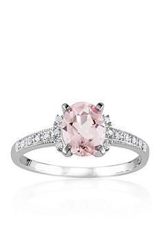 Belk & Co. Sterling Silver Morganite and Diamond Ring