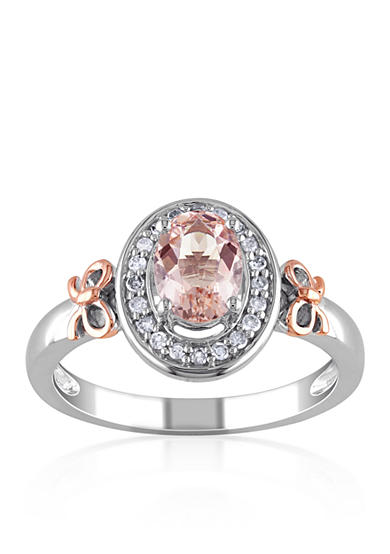 Belk & Co. Sterling Silver with 14k Rose Gold Morganite and Diamond Ring