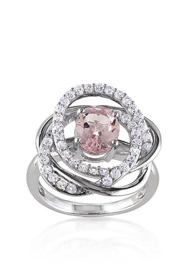 Belk & Co. Sterling Silver Morganite and White Sapphire Ring