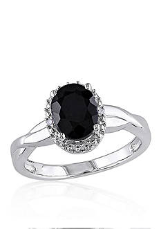Belk & Co. Black Sapphire and Diamond Ring in Sterling Silver