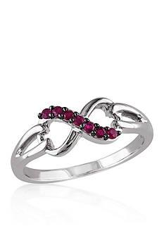 Belk & Co. Ruby Infinity Ring in Sterling Silver