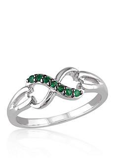 Belk & Co. Emerald Infinity Ring in Sterling Silver