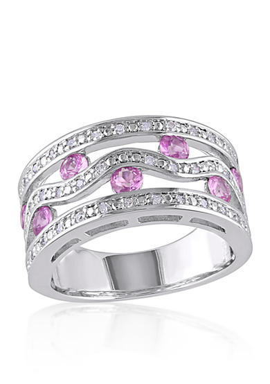Belk & Co. Pink Sapphire and Diamond Band in Sterling Silver