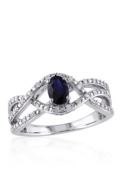 Belk co sapphire and diamond ring in sterling silver belk for Belk fine jewelry rings