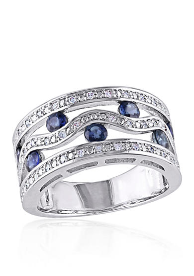 Belk & Co. Sapphire and Diamond Band in Sterling Silver