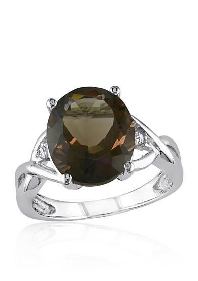 Belk & Co. Sterling Silver Smokey Quartz and Diamond Ring