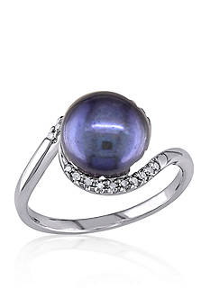 Belk & Co. Sterling Silver Black Cultured Freshwater Pearl and Diamond Ring