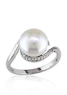 Belk & Co. Sterling Silver White Cultured Freshwater Pearl and Diamond Ring