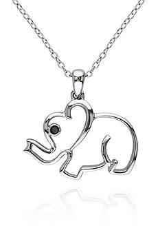 Belk & Co. Black Diamond Accent Elephant Pendant in Sterling Silver