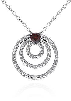 Belk & Co. Garnet Triple Circle Pendant in Sterling Silver