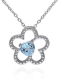 Belk & Co. Blue Topaz Flower Pendant in Sterling Silver