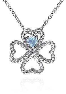 Belk & Co. Blue Topaz Clover Pendant in Sterling Silver