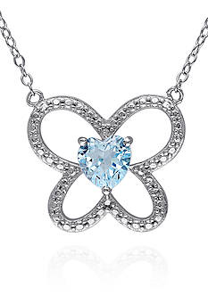 Belk & Co. Blue Topaz Butterfly Pendant in Sterling Silver