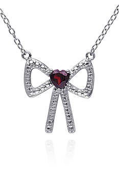 Belk & Co. Garnet Bow Pendant in Sterling Silver