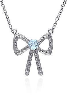 Belk & Co. Blue Topaz Bow Pendant Necklace