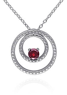 Belk & Co. Garnet Double Circle Pendant in Sterling Silver