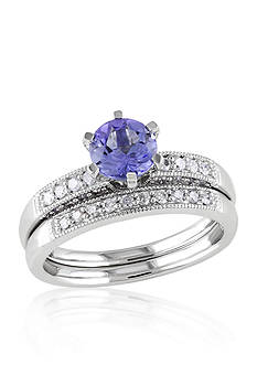 Belk & Co. Diamond and Tanzanite Bridal Ring Set in White Gold