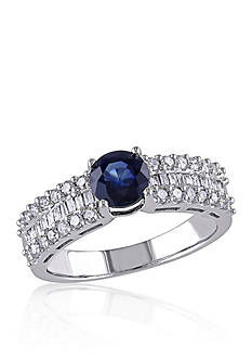 Belk & Co. Sapphire and Diamond Ring in 10k White Gold