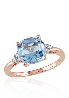 Belk & Co. 10k Rose Gold Blue Topaz and Diamond Ring