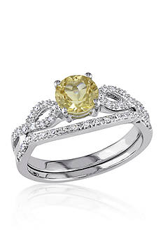 Belk & Co. Yellow Beryl & Diamond Set in 10k White Gold