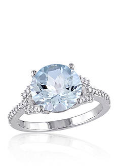 Belk & Co. Blue Topaz and Diamond Sky Ring in 10k White Gold