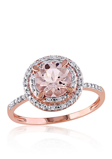 Belk co morganite and diamond ring in 10k rose gold belk for Belk fine jewelry rings