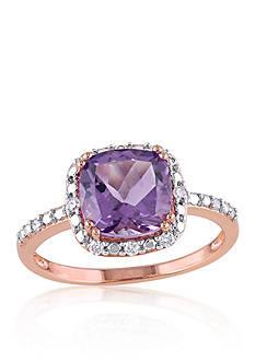 Belk & Co. 10K Rose Gold Amethyst and Diamond Ring