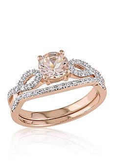 Belk & Co. 4/5 ct. t.w. Morganite and 1/6 ct. t.w. Diamond Set in 10k Rose Gold