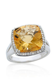 Belk & Co. Citrine and Diamond Ring in Sterling Silver