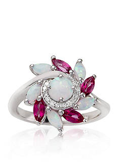 Belk & Co. Marquise Created Opal, Pink Topaz & Diamond Ring set in Sterling Silver