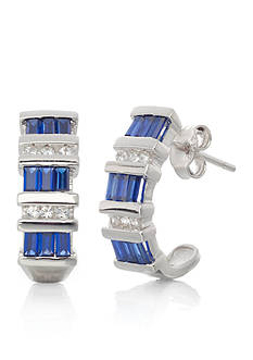Belk & Co. Sterling Silver Sapphire and Diamond J Hoop Earrings