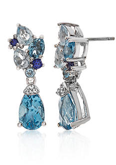 Belk & Co. Blue Topaz, Sapphire, and Diamond Accent Earrings in Sterling Silver