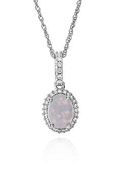 Belk & Co. Created Opal and White Topaz Pendant in Sterling Silver