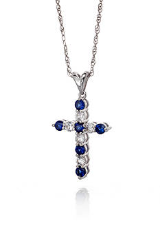 Belk & Co. Sterling Silver Sapphire and Diamond Cross Pendant