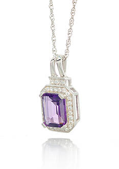 Belk & Co. Sterling Silver Amethyst and Diamond Pendant