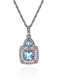 Belk & Co. Sterling Silver Blue Topaz and Diamond Pendant