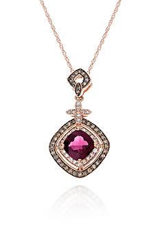 Belk & Co. Rhodolite Garnet, Mocha Diamond, and White Diamond Pendant in 10k Rose Gold