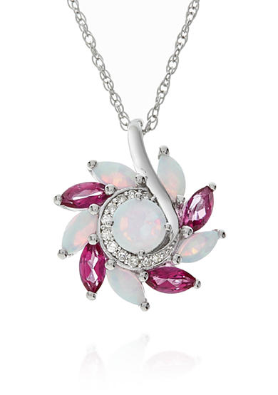 Belk & Co. Created Opal Marquise, Pink Topaz & Diamond Pendant set in Sterling Silver
